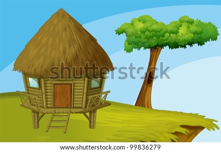 Illustration of hut on a hill