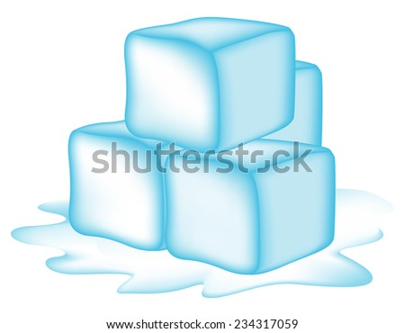 Illustration of ice cubes isolated on white background - stock vector