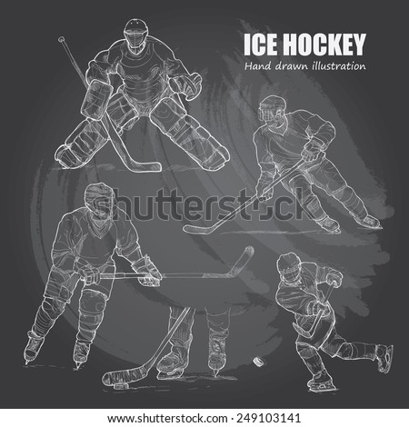 illustration of Ice Hockey. Hand drawn.