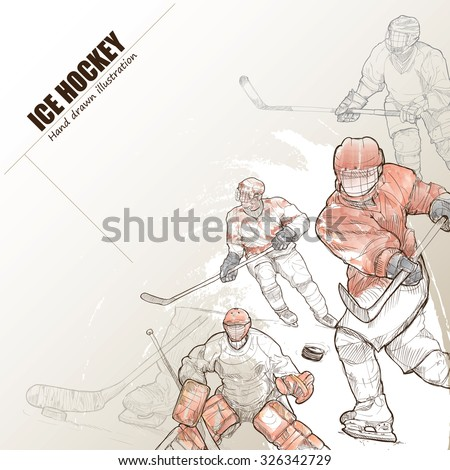 Illustration of ice hockey. hand drawn. ice hockey poster. Sport background. - stock vector
