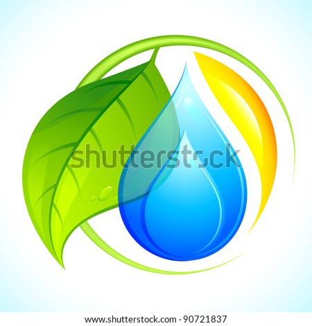 illustration of icon with sun, leaf and water - stock vector