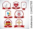 illustration of icons for medicine, with different tools, vector illustration - stock vector