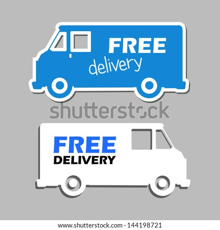 illustration of icons free delivery, vector