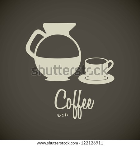 illustration of icons of coffee, teapot and cup of coffee, vector illustration - stock vector