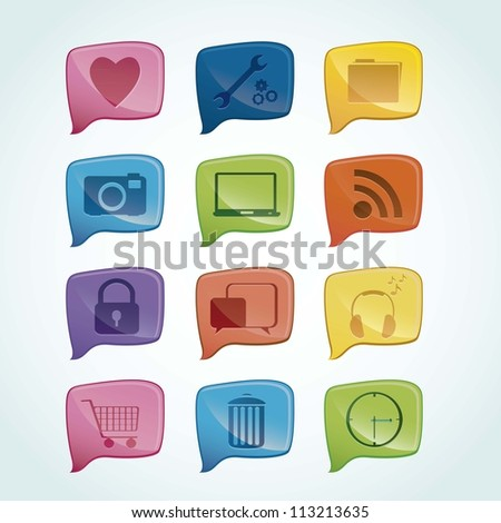 Illustration of icons of social networking, connectivity, networking, sharing, vector illustration