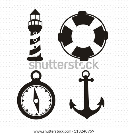 Illustration of icons offshore, anchor, lighthouse, Life Belt, compass, vector illustration