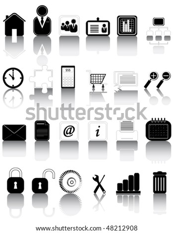 Illustration of icons set with shadow - stock vector