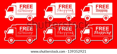 illustration of icons shipments and free delivery - stock vector