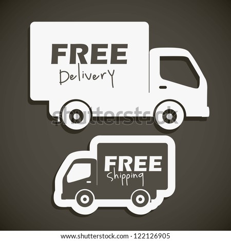 illustration of icons shipments and free delivery, vector illustration - stock vector