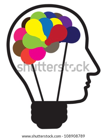 Illustration of idea light bulb as human head creating ideas shown by multicolor bulbs in shape of brain. Also can be used as concept for problem solving and out of the box thinking. - stock vector