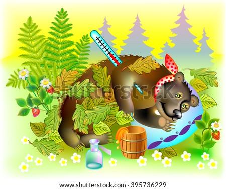Illustration of ill bear, vector cartoon image. - stock vector
