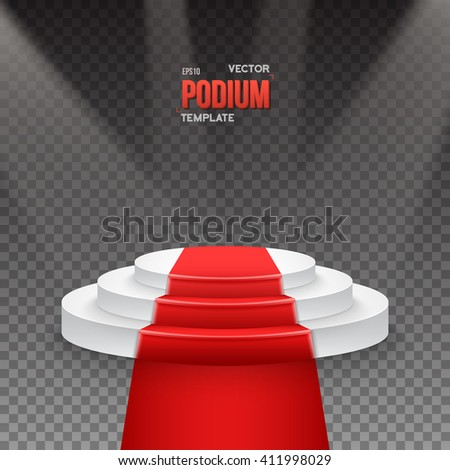Illustration of Illustration of Photorealistic Winner Podium Stage with Stage Lights and Red Carpet Isolated on Transparent Overlay Background. Used for Product Placement, Presentations, Contests - stock vector