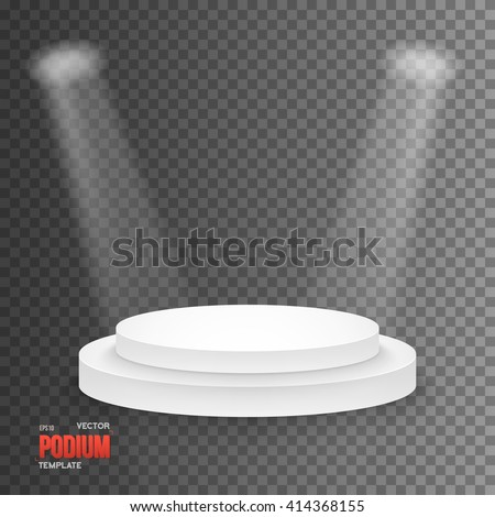 Illustration of Illustration of Photorealistic Winner Podium Stage with Stage Lights Isolated on Transparent Overlay Background. Used for Product Placement, Presentations, Contests - stock vector