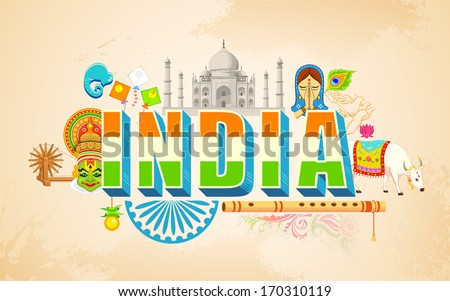 illustration of India background showing cultural diversity - stock vector