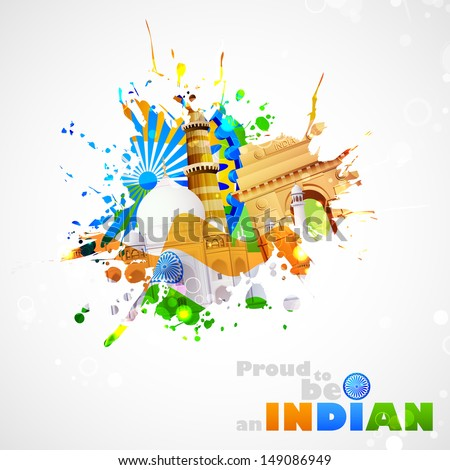 illustration of India background with monument and culture - stock vector