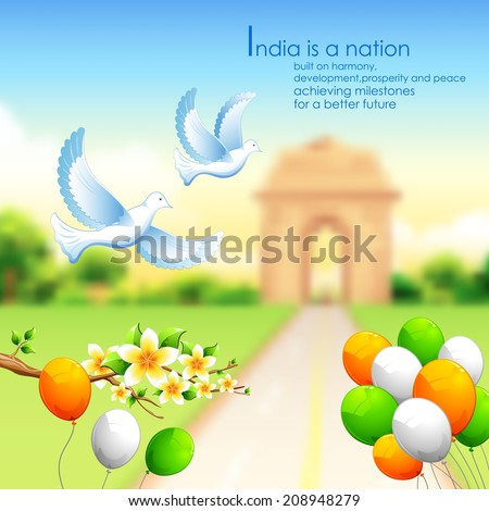 illustration of India background with tricolor balloon and India Gate - stock vector
