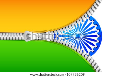 illustration of India flag with open zipper - stock vector