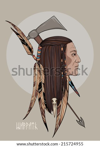 Illustration of Indian and weapons. Can be used as a cover - stock vector