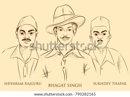 illustration of Indian background with Nation Hero Freedom Fighter Bhagat Singh, Shivaram Rajguru and Sukhdev Thapar