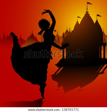 illustration of Indian classical dancer performing in temple - stock vector