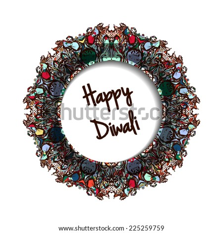 Illustration of Indian festival Diwali. Greeting round label - stock vector