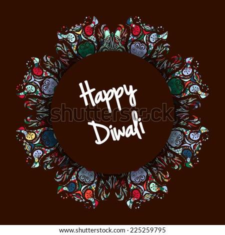 Illustration of Indian festival Diwali on dark background - stock vector