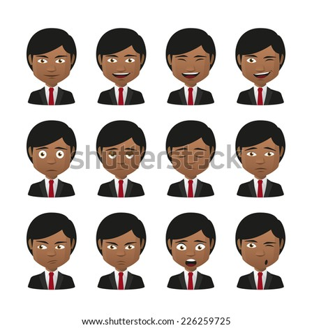Illustration of indian men wearing suit avatar expression set - stock vector