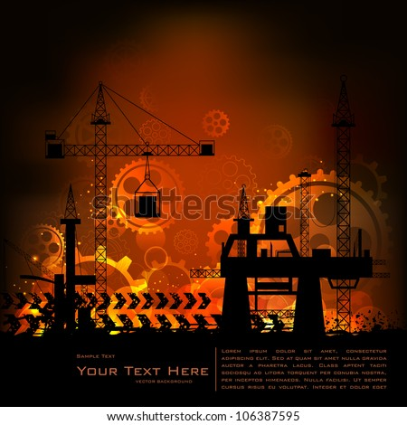 illustration of industrial backdrop with crane and cogwheel - stock vector