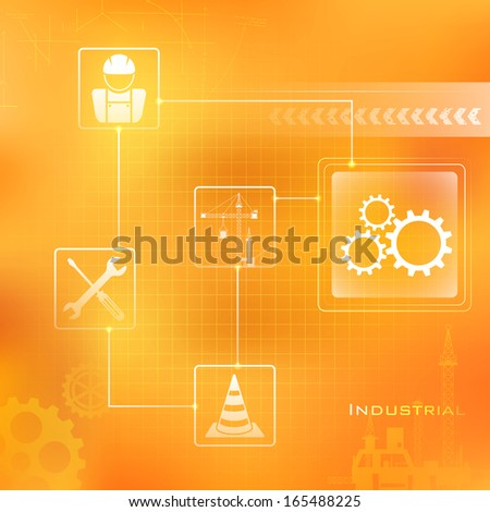 illustration of Industrial Background with sign and symbol - stock vector