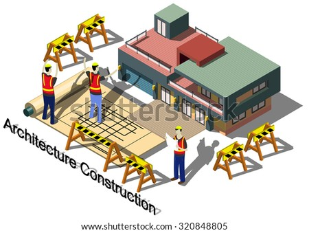illustration of info graphic architecture construction concept in isometric graphic - stock vector