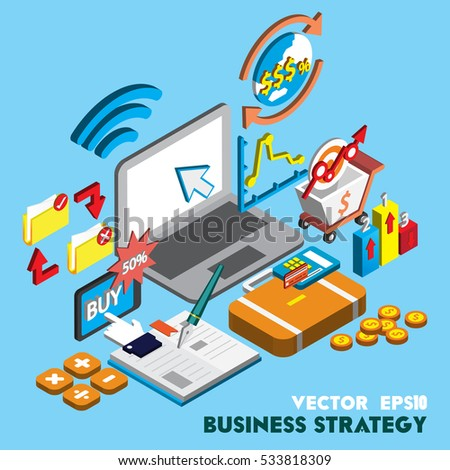 illustration of info graphic business strategy set concept in isometric 3d graphic