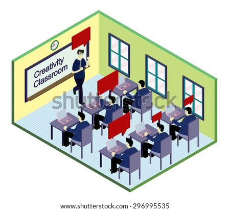 illustration of info graphic classroom concept in isometric graphic - stock vector
