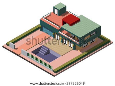 illustration of info graphic house concept in isometric graphic