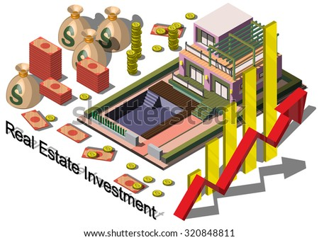 illustration of info graphic real estate investment concept in isometric graphic