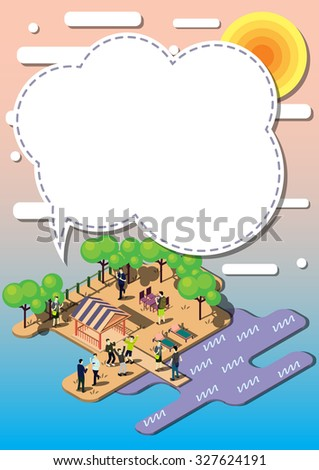 illustration of info graphic urban park concept in isometric graphic