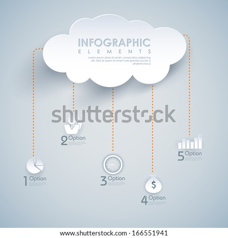 illustration of infographic chart of cloud computing - stock vector