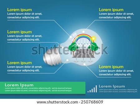 Illustration of infographic element, alternative energy in bulb. - stock vector