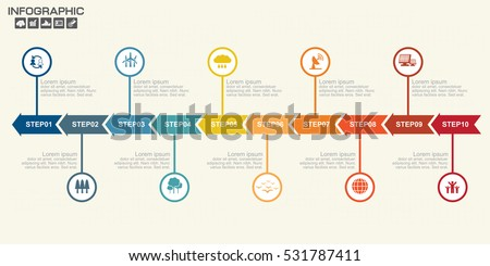 Illustration Infographic Timeline Arrows Template Layout Stock - Template timeline