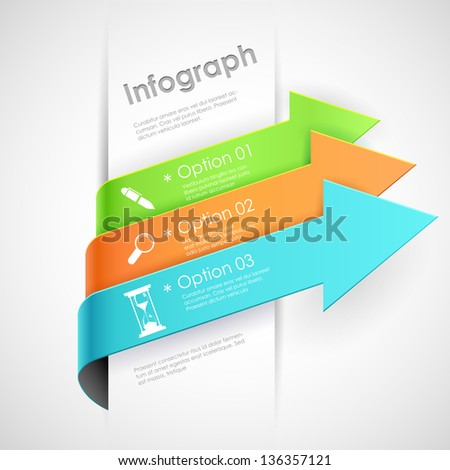 illustration of infographics options arrow banner for presentation and promotion - stock vector