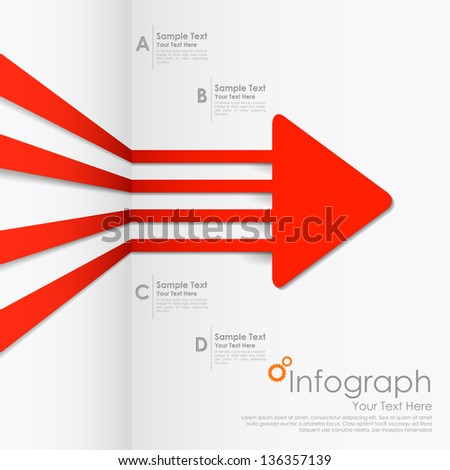 illustration of infographics options arrow for presentation and promotion - stock vector
