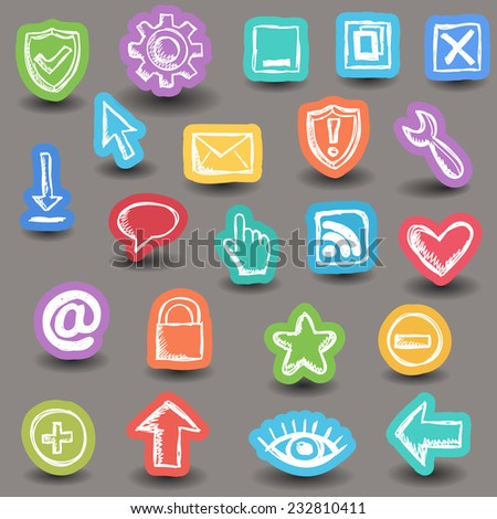 Illustration of internet web icons - doodle stickers - stock vector