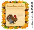 illustration of invitation card for thanksgiving with turkey and maple leaf - stock vector