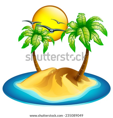 illustration of island icon on white background with piece of sea