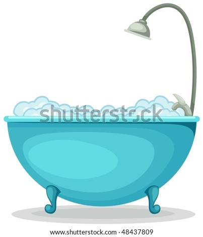 illustration of isolated a bathtub on white background - stock vector