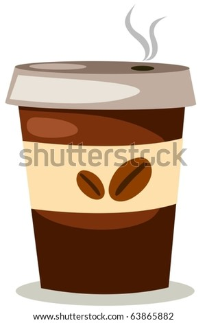 illustration of isolated a cup of coffee on white background - stock vector