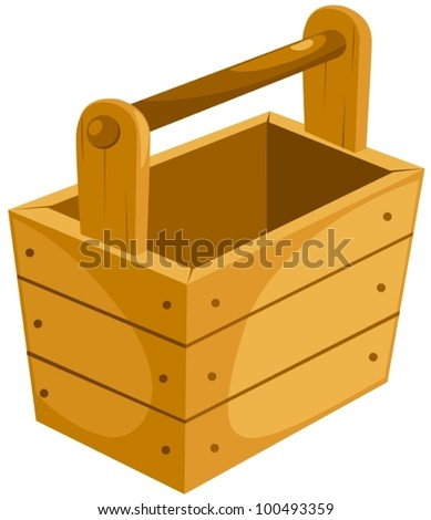 illustration of isolated a wooden bucket on white - stock vector