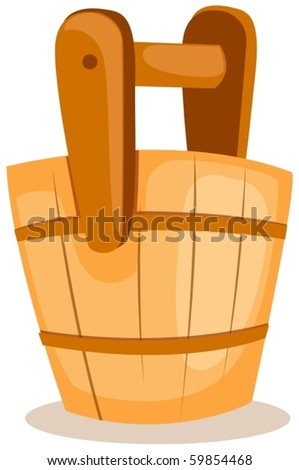 illustration of isolated a wooden bucket on white background - stock vector