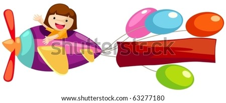 illustration of isolated airplane with blank banner on white - stock vector
