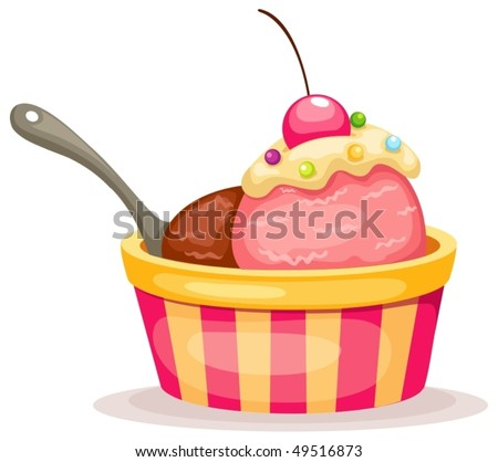 illustration of isolated  an ice cream on white background - stock vector