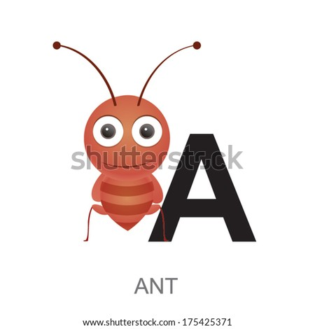illustration of isolated animal alphabet. A is for ant. Vector illustration. - stock vector